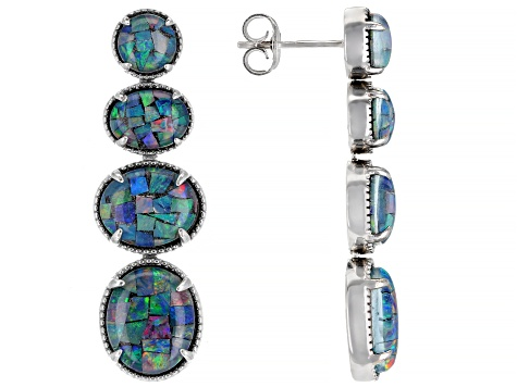 Multicolor Australian Opal Triplet Rhodium Over Sterling Silver Dangle Earrings