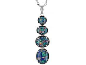 Multicolor Australian Opal Triplet Rhodium Over Sterling Silver Pendant with Chain