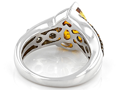 Orange Amber Rhodium Over Silver Ring .37ctw