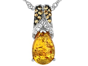 Orange Amber Rhodium Over Silver Pendant With Chain .13ctw