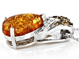 Orange Amber Rhodium Over Silver Slide With Chain .13ctw