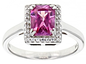 Pink Zircon Rhodium Over Sterling Silver Ring 1.91ctw