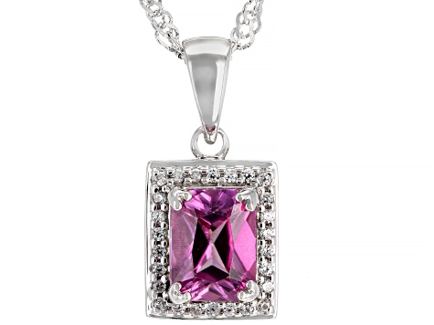 Pink Zircon Rhodium Over Silver Pendant with Chain 1.91ctw