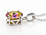 Multi color Northern Lights™ Quartz Rhodium Over Silver Pendant with Chain 4.90ctw