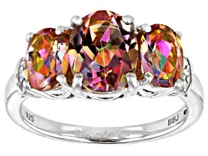 Multicolor Northern Lights(TM) Quartz rhodium over silver ring 2.87ctw