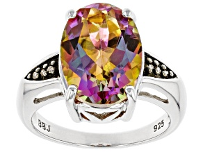 Multi-color Northern Lights™ Quartz Rhodium Over Silver Ring 4.96ctw