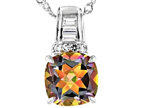 Multicolor Northern Lights™ Quartz Rhodium Over Sterling Silver Pendant with Chain 3.48ctw
