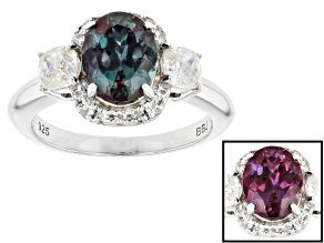 Blue Lab Created Alexandrite Rhodium Over Silver Ring 2.54ctw