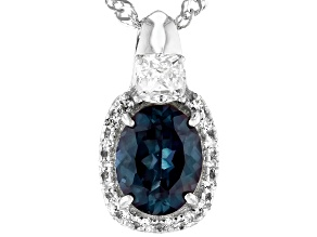 Blue Lab Created Alexandrite Rhodium Over Silver Pendant With Chain 2.21ctw