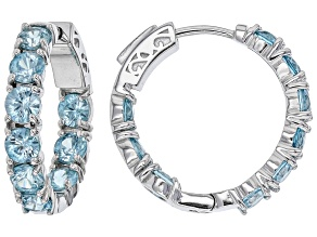 Blue Zircon Rhodium Over Sterling Silver Hoop Earrings 6.27ctw