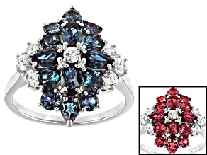 Blue Lab Created Alexandrite Rhodium Over Sterling Silver Ring 3.20ctw