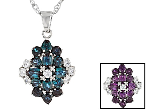 Blue Lab Created Alexandrite Rhodium Over Sterling Silver Pendant with Chain 3.20ctw