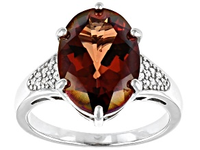Red Labradorite Rhodium Over Sterling Silver Ring 4.41ctw