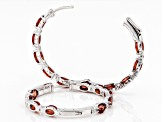 Red Flame Labradorite Rhodium Over Sterling Silver Inside/Outside Hoop Earrings 6.32ctw