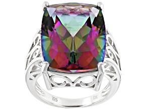 Multi-Color Quartz Rhodium Over Silver Ring 17.85ct