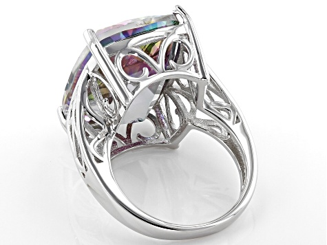 Multi-Color Quartz Rhodium Over Silver Ring 17.85ct