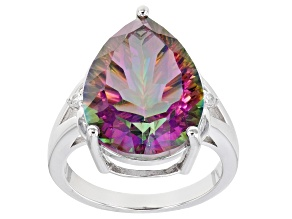 Multi-Color Quartz Rhodium Over Silver Ring 9.40ctw