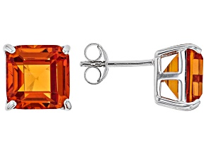 Orange lab padparadscha sapphire rhodium over silver stud earrings 8.24ctw