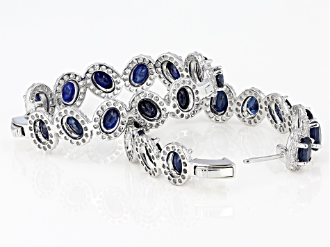 Blue Sapphire Rhodium Over Silver Earrings 14.56ctw