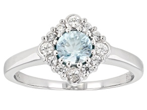Blue Zircon Rhodium Over Sterling Silver Ring .86ctw
