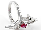 Red Lab Created Ruby Rhodium Over Silver Reindeer  Ring .80ctw