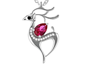 Red Lab Created Ruby Rhodium Over Silver Reindeer  Pendant with Chain .80ctw
