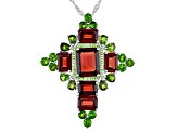 Red Garnet Rhodium Over Silver Pendant With Chain 12.93ctw