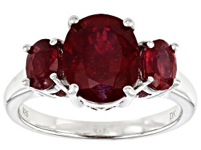 Red Ruby Rhodium Over Silver 3-Stone Ring 4.37ctw