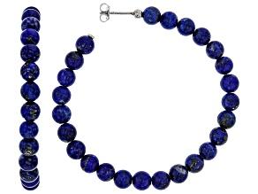 Blue lapis lazuli  rhodium over sterling silver hoop earrings.