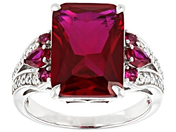 Picture of Red Lab Created Ruby Rhodium Over Sterling Silver Ring 7.42ctw