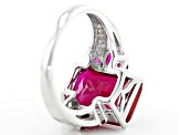 Red Lab Created Ruby Rhodium Over Sterling Silver Ring 7.42ctw