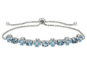 Blue Topaz Rhodium Over Silver Bracelet 2.32ctw