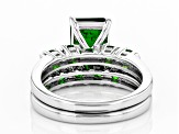 Green Chrome Diopside Rhodium Over Silver Ring With Band 2.86ctw