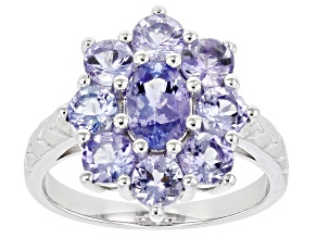 Blue Tanzanite Rhodium Over Silver Ring 2.52ctw