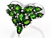 Green Chrome Diopside Rhodium Over Silver Ring 2.99ctw