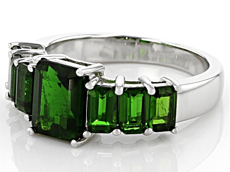 Green Chrome Diopside Rhodium Over Silver Ring 3.03ctw