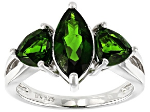 Green Chrome Diopside Rhodium Over Silver Ring 2.96ctw