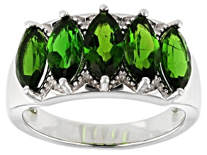 Green Chrome Diopside Rhodium Over Silver Ring 2.38ctw