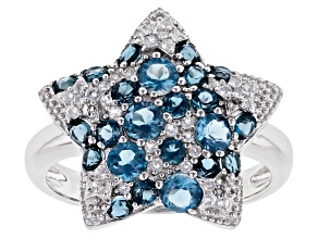 Blue Topaz Rhodium Over Silver Ring 1.69ctw