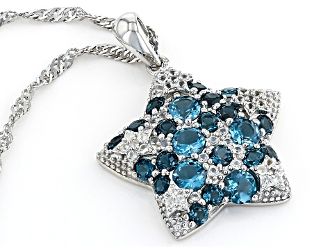 Blue Topaz Rhodium Over Silver Pendant With Chain 1.34ctw