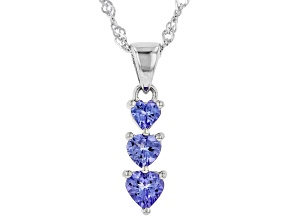 Blue Tanzanite Rhodium Over Silver Pendant with Chain .83ctw