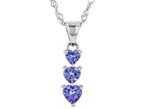 Blue Tanzanite Rhodium Over Silver Pendant with Chain .83ctw