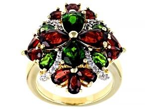 Green chrome diopside 18k yellow gold over silver ring 5.90ctw