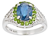 Blue Chromium Kyanite Rhodium Over Silver Ring 2.76ctw