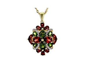 Green chrome diopside 18k yellow gold over silver pendant with chain 5.88ctw
