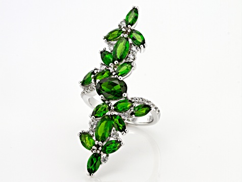 Green Chrome Diopside Rhodium Over Silver Ring 5.86ctw