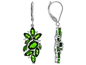 Green Chrome Diopside Rhodium Over Silver Earrings 4.76ctw