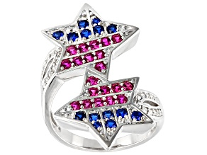 Blue Lab Created Spinel Rhodium Over Silver Ring  .75ctw