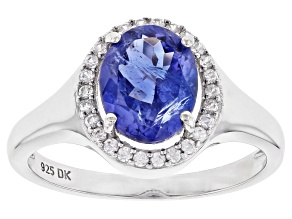 Blue Tanzanite Rhodium Over Silver Ring 1.75ctw