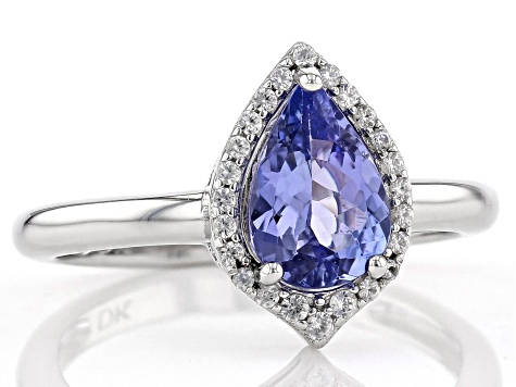 Blue Tanzanite Rhodium Over Silver Ring 1.32ctw